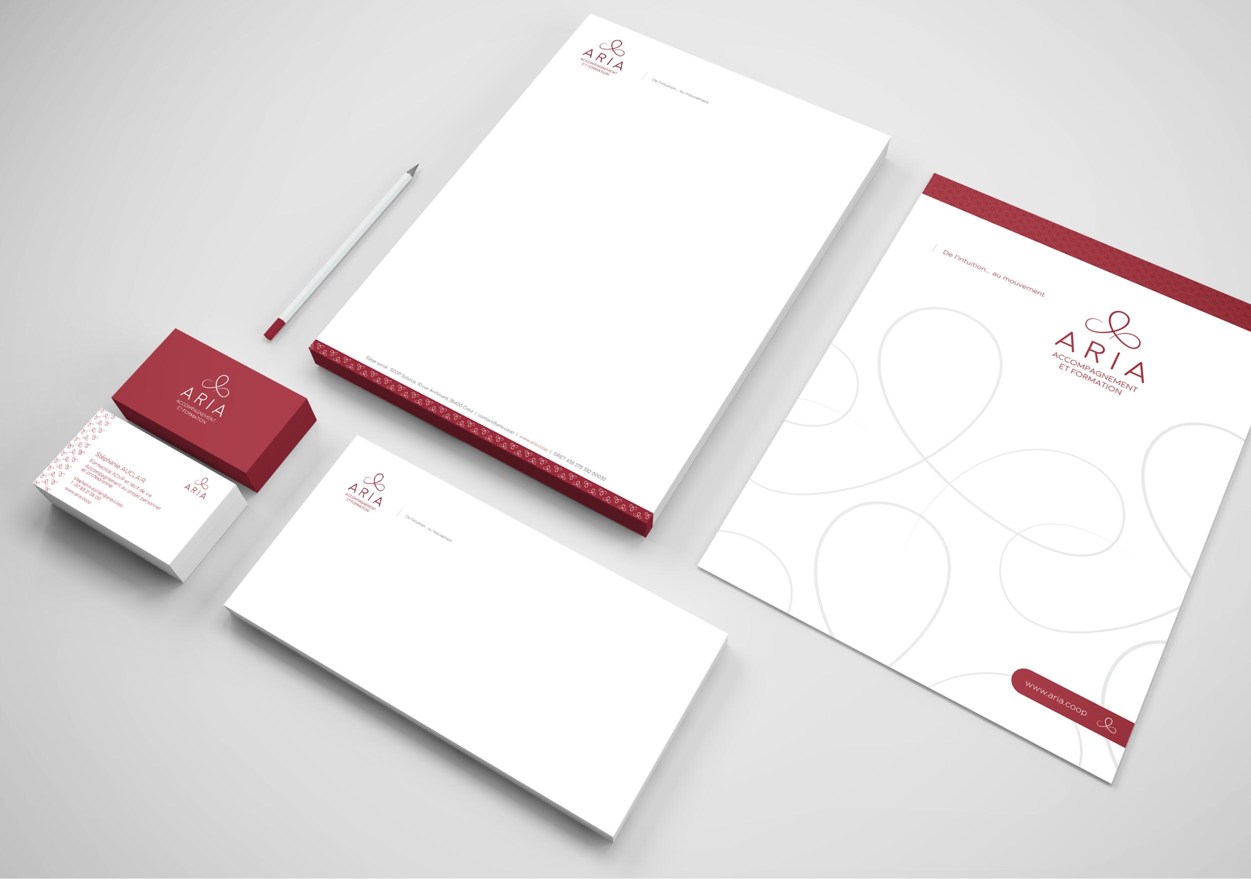 Création logo papeterie charte graphique déclinaison Aria Crest Drôme