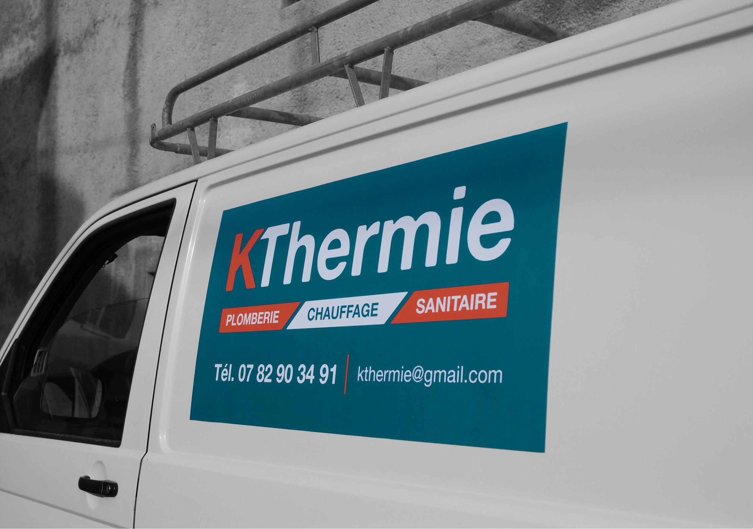 Création signalétique véhicule magnétique logo Kthermie plombier Valence