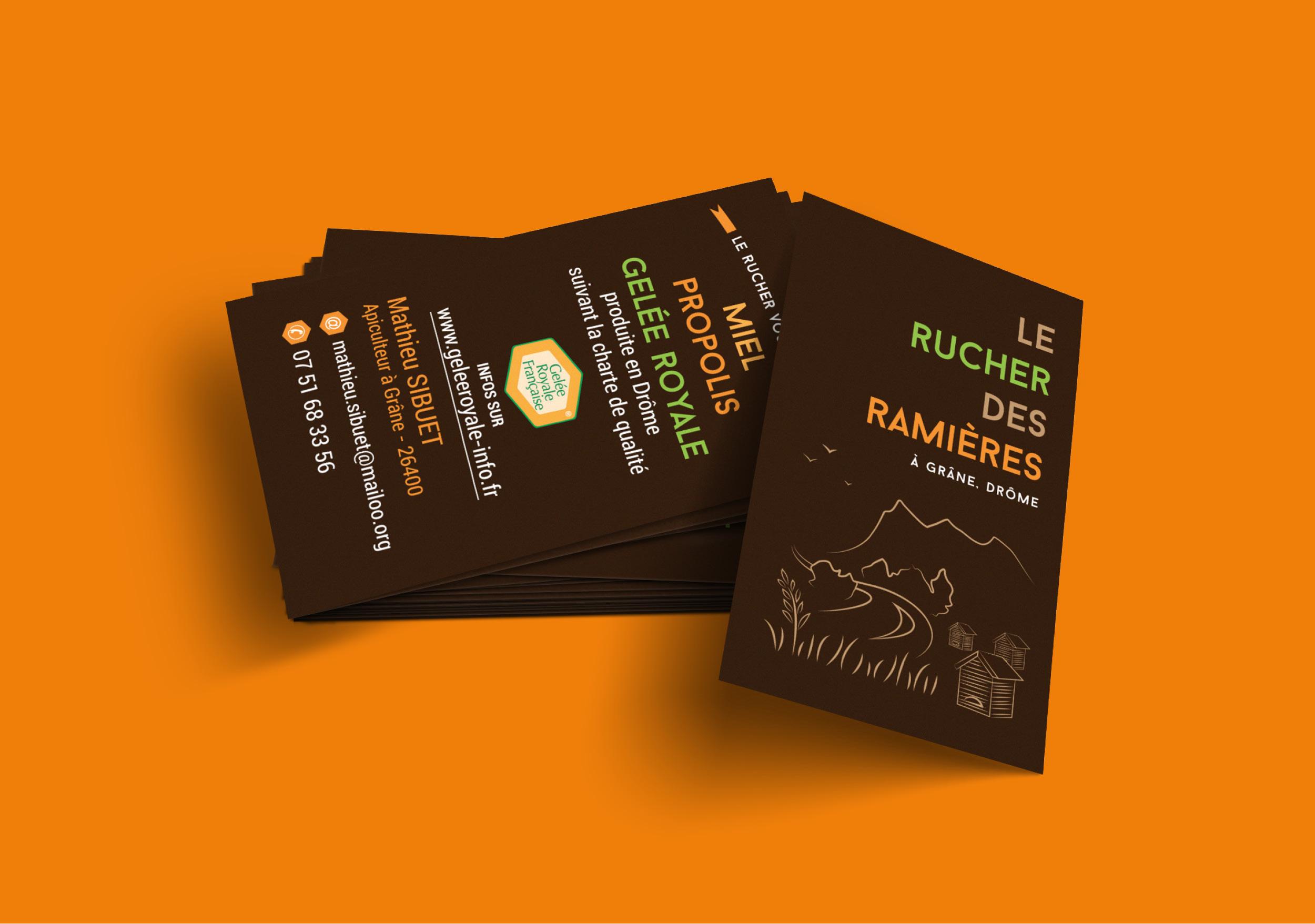 Création cartes de visite recto verso Rucher des Ramières Drôme miel apiculteur