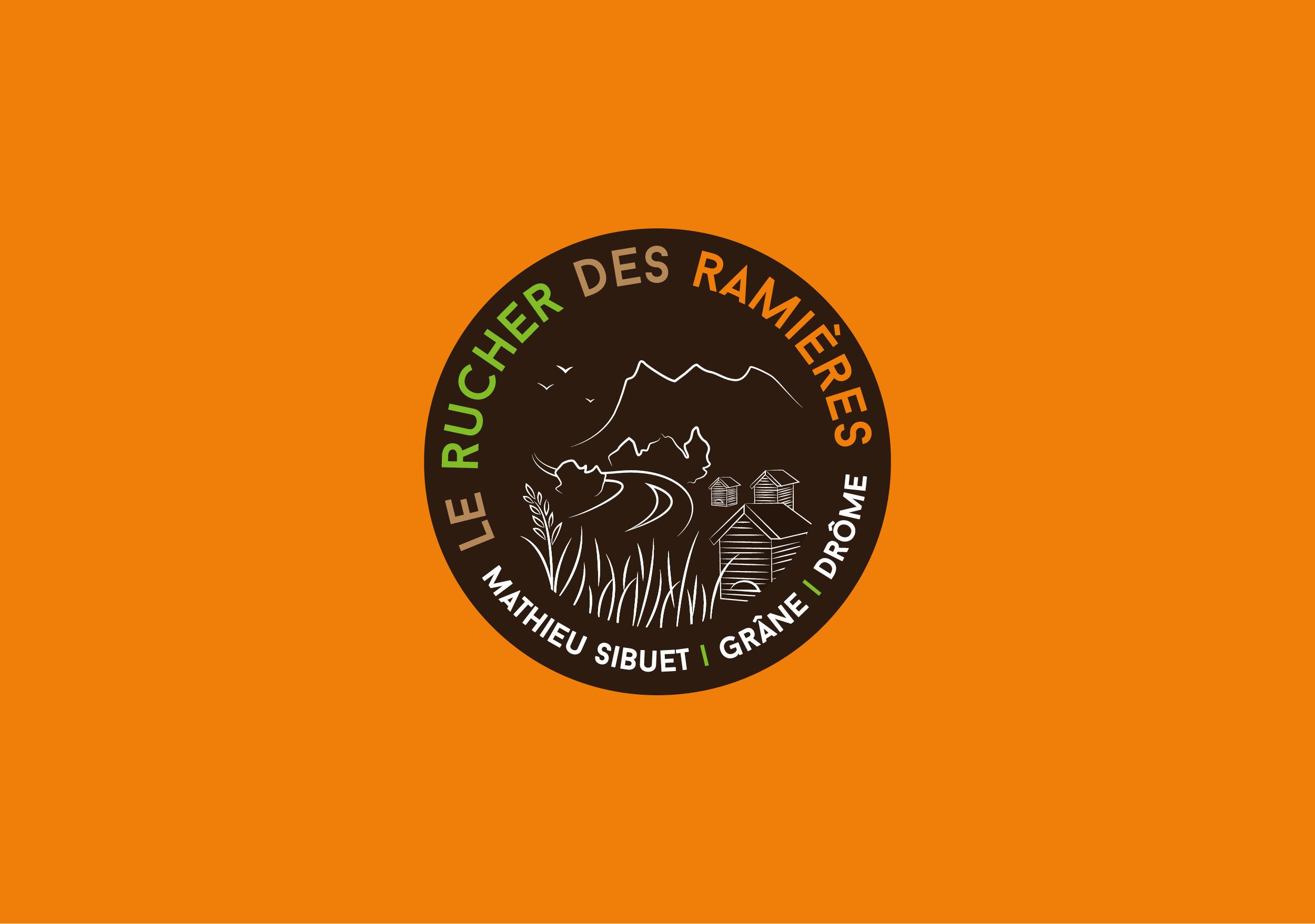 Création du logo Le Rucher des Ramières apiculteur récoltant miel bio Grâne Drôme