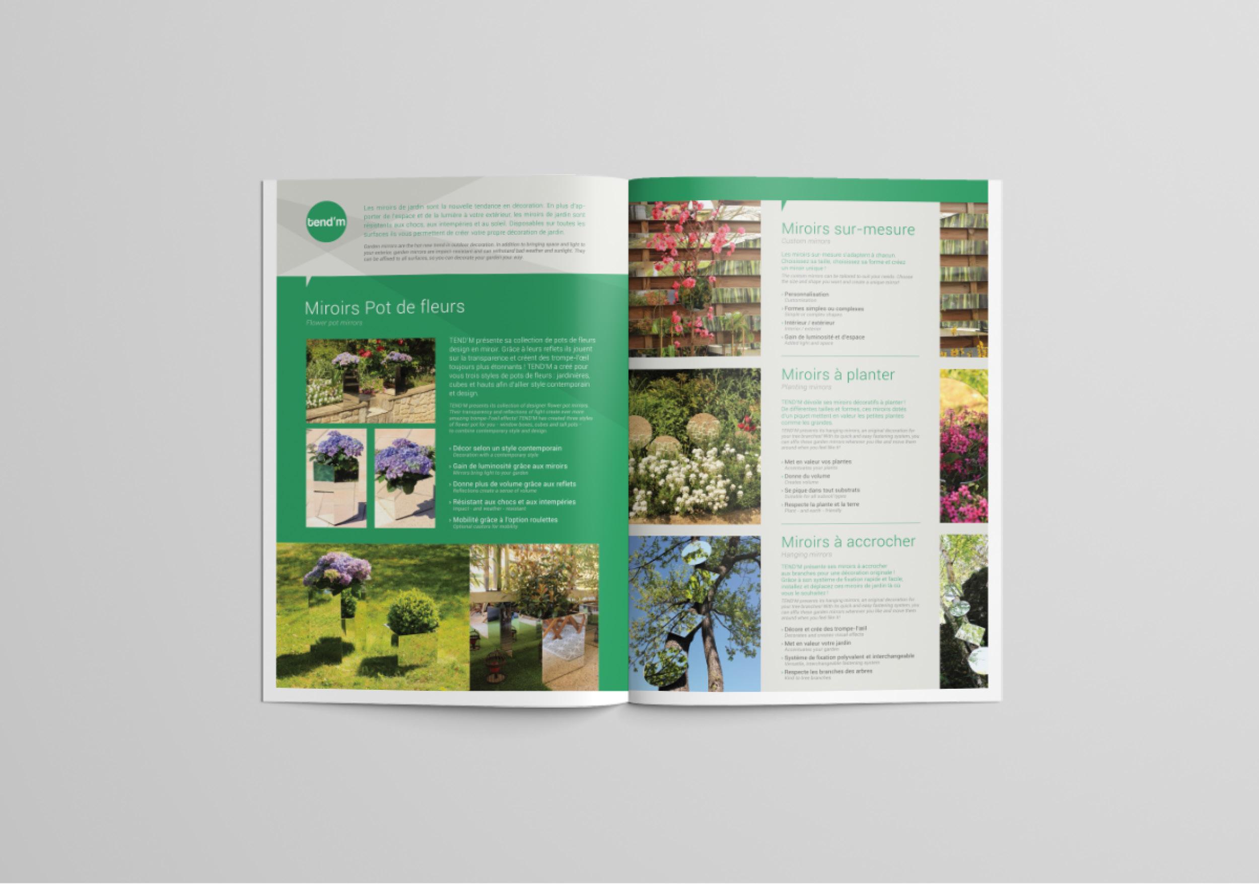 Création brochure double page mise en page composition textes images graphisme déco