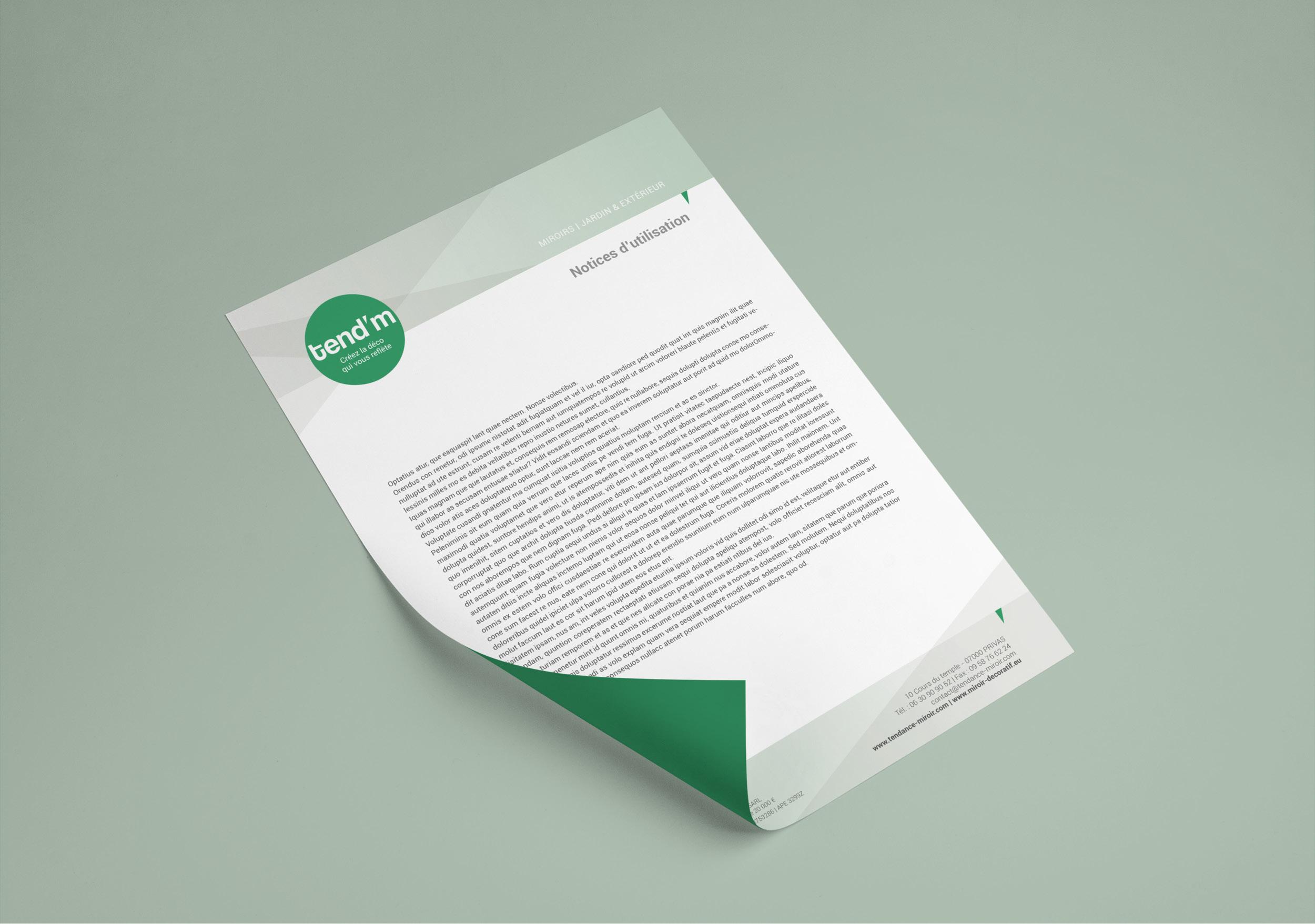 Création charte graphique papier entête design Tendance Miroir