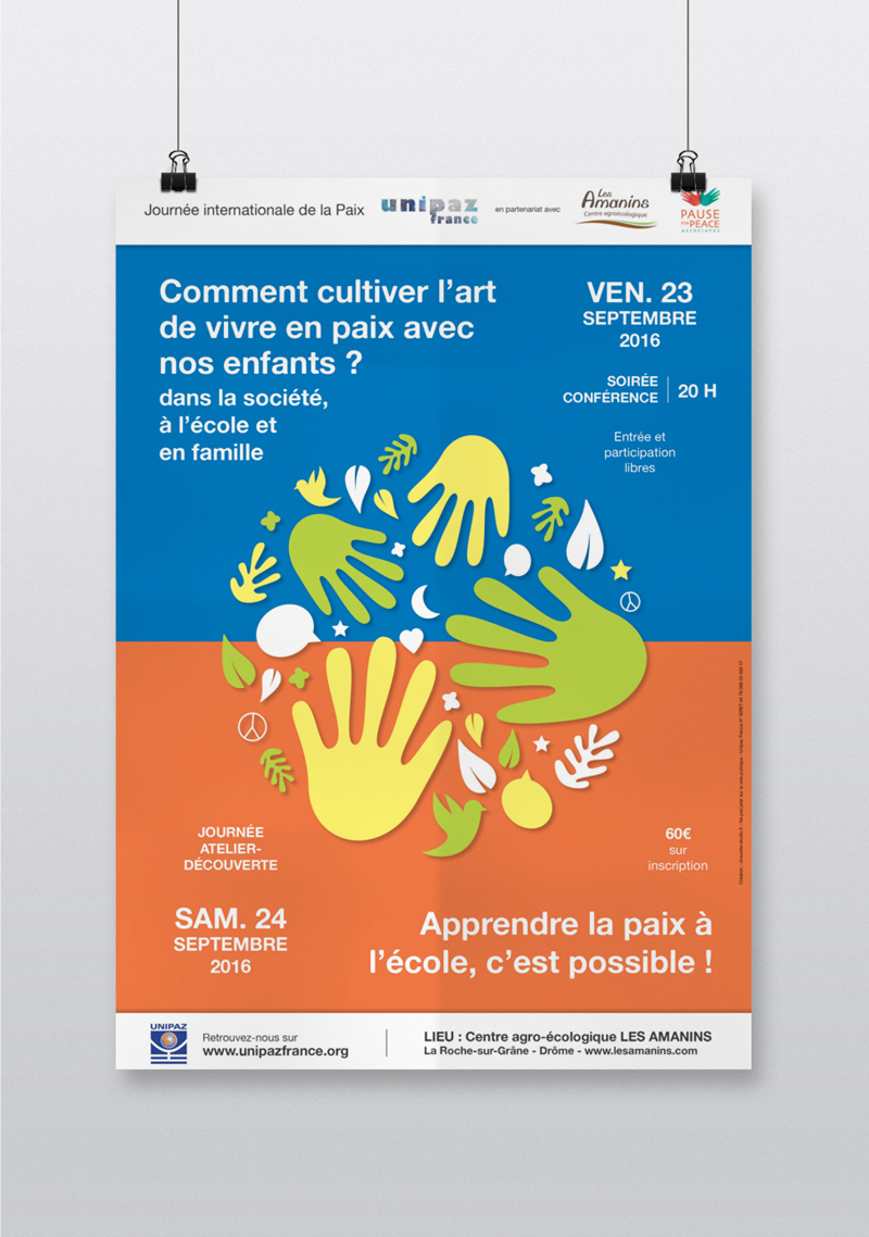 Création affiche atelier conférence Unipaz Drôme art de vivre paix