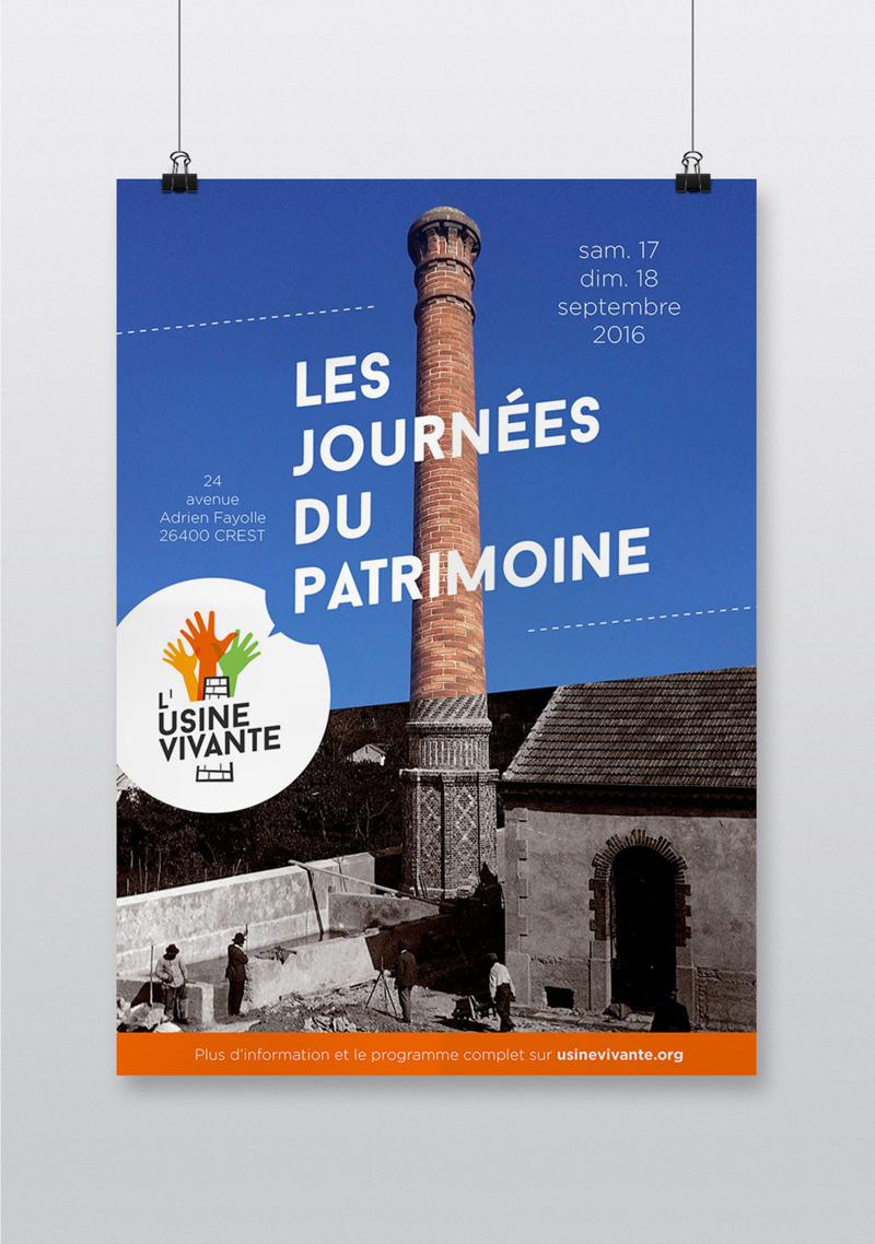 Création affiche poster événement manifestation Journées du Patrimoine Usine Vivante Crest Drôme