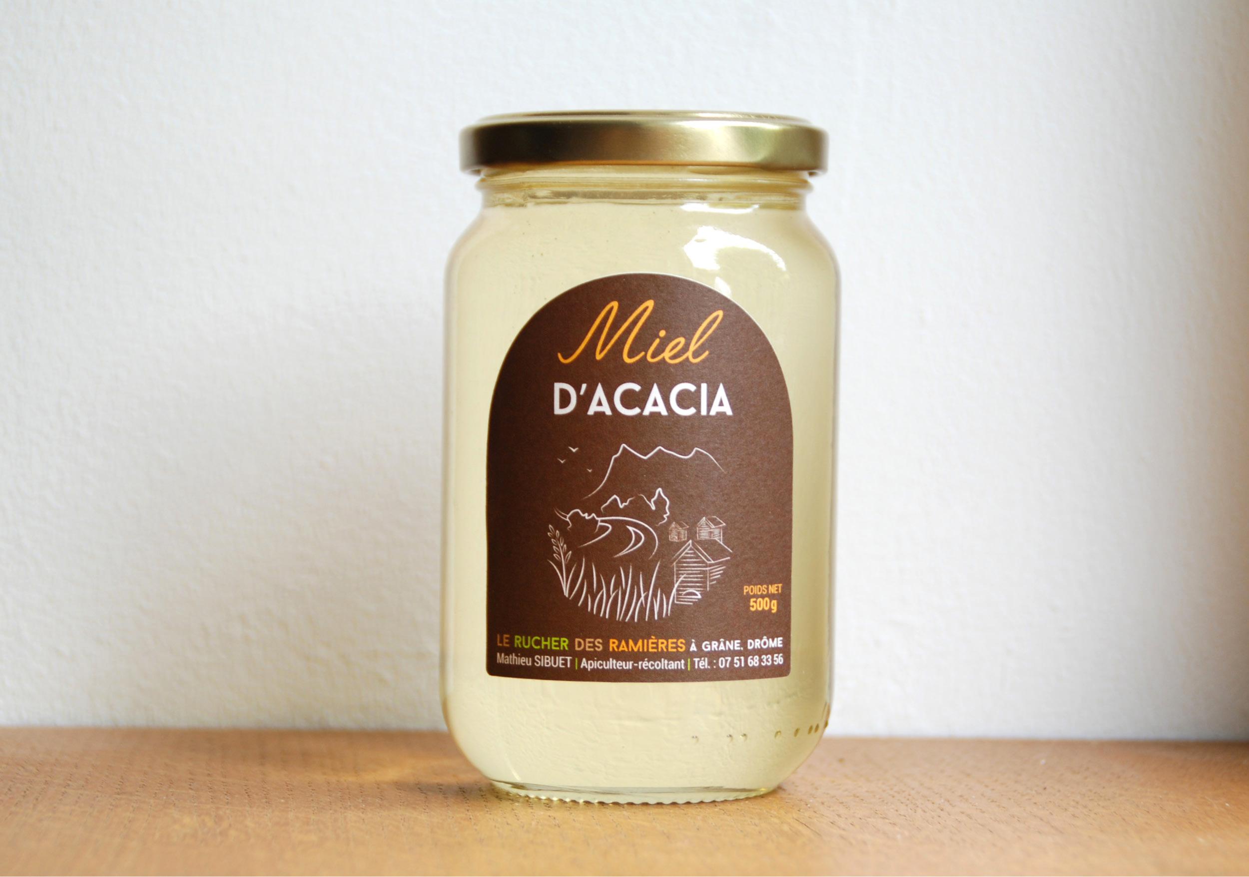Création étiquette adhésive pot de miel bio acacia 250gr récolte France découpe vectoriel personnalisé Crest Drôme